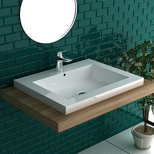 Garda Waschbecken 480x600, Kleines Handwaschbecken aus hochwertigem Mineralguss mit Überlauf | Mini Waschschale Gäste WC Eck Waschtisch Rechteckig| Alpenberger Design
