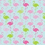 Jersey Stoff–Flamingos blau–Jersey Stoff–scj08–0,5m–96% Premium Baumwolle 4% Spandex Stretch Jersey Knit Stoff