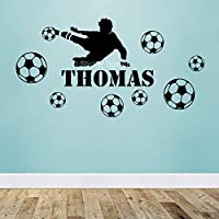 Joueur de Football Garçons Personnalisé Prénom Art Mural Autocollant