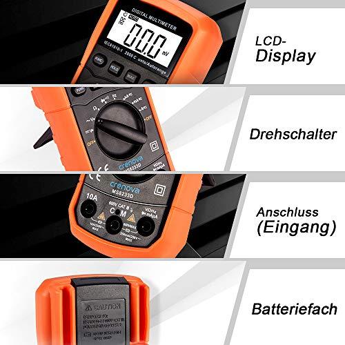 Digital Multimeter, Crenova MS8233D AC Spannungsprüfer Tragbare Prüfvorrichtung Messung von Spannung Strom Widerstand Messinstrument mit Hintergrundbeleuchtung - 7