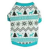 YiJee Weihnachten Haustier Warm Drucken T-Shirts Welpe Hund Winter Bekleidung Sweatshirts Blau S