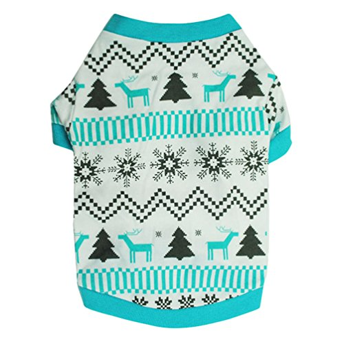 YiJee Weihnachten Haustier Warm Drucken T-Shirts Welpe Hund Winter Bekleidung Sweatshirts Blau L -