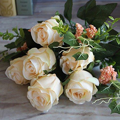 Auntwhale Künstliche Rosen Blume Gefälschte Seide Braut für Hochzeitsfeier Hand Blumenstrauß Geburtstag Blumen Hotel Party Büro Garten Blumendekor Wohnzimmer Tisch Bunch - Kopf-tisch-mittelstücke