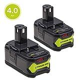(2 Paquetes) Eagglew para Ryobi 18v 4.0Ah Batería de iones de litio Reemplace One + P108 P107 P100 P122 P104 P105 P06 P102 P103 P200 con indicador LED