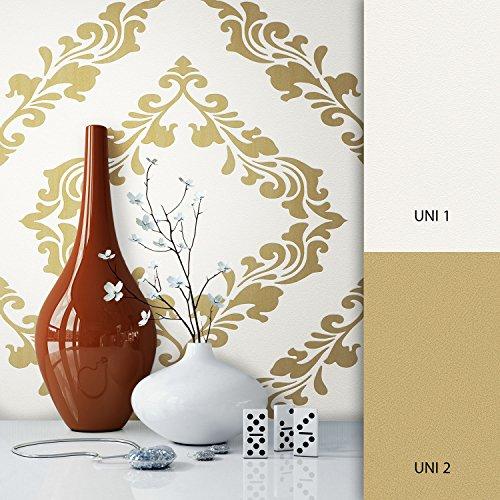 NEWROOM Barocktapete Tapete silber Ornament Schnörkel Barock Vliestapete metallic Vlies moderne...