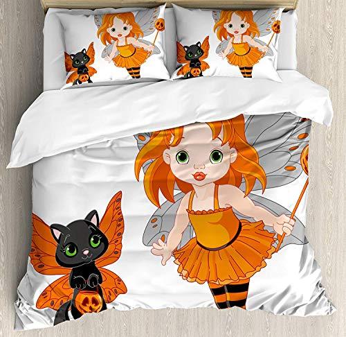 WENYAO Halloween Queen Size Bettbezug, Halloween Baby Fairy und ihre Katze in Kostümen Schmetterlinge Mädchen Kinderzimmer Dekor, dekorative 3 Stück Bettwäsche Set mit 2 Kissen Shams, - Fairy Queen Kostüm
