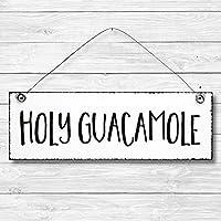 Holy Guacamole - Dekoschild Türschild Wandschild Holz Deko Schild 10x30cm Holzdeko Holzbild Deko Schild Geschenk Mitbringsel Geburtstag