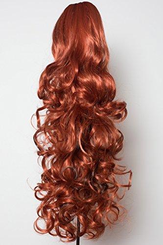 Elegant Hair - 56 cm / 22 pouces queue de cheval frisé – Cuivre/mèches brun foncé #350/H4 - Clip-in pièce de extensions de cheveux réversible - Avec griffe-clip - 30 Couleurs - 250g