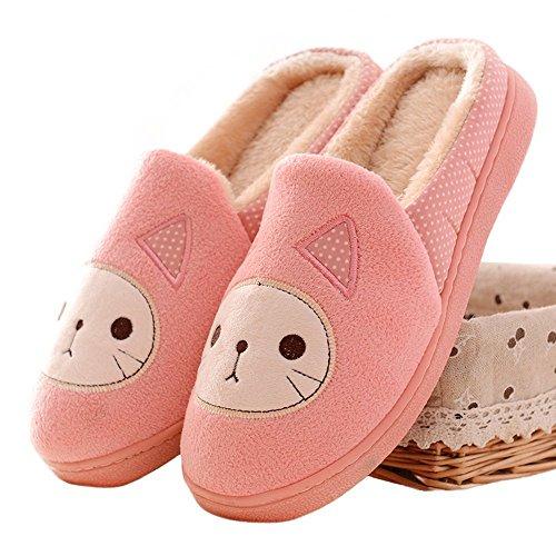 Plüsch-hausschuhe Katze (Minetom Damen Mädchen Herbst Winter Plüsch Hausschuhe Wärme Cartoon Katze gepolsterte Schuhe (EU 39, Pink))