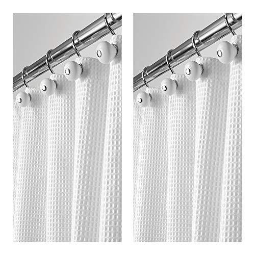 mDesign Set da 2 Tende bagno in tessuti misti – Tende per doccia eleganti e raffinate – Tenda per vasca da bagno facile da lavare – 183 cm x 183 cm – bianco