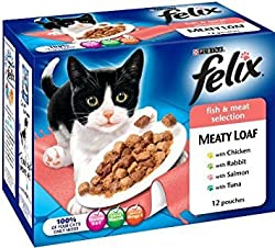 FELIX FISH MEAT LOAF. 24 POUCHES. CAT FOOD. FISH SELECTIONS, MEATS, AND MORE. NEW