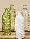 Vase Glas lackiert 4er Set grün weiß Klarglas Höhe 20 cm