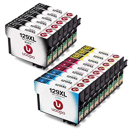 Uoopo T1295 Compatibile Cartucce Epson T129 T1291 T1292 T1293 T1294 per Epson Stylus SX235W SX440W SX425W SX420W SX535WD,BX305F BX305FW, Workforce WF-7515 WF-3520 (6 Nero,3 Ciano,3 Magenta,3 Giallo)
