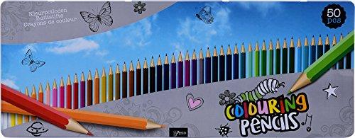 Riesige Box Buntstifte 50 Farben normaler Härtegrad in Blechbox