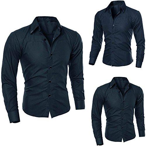 edruckt Bluse lässig Langarm Slim Shirts Tops Marine S ()