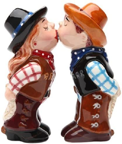 Cowboy and CowgirlMagnetic Salt Ceremic Salt CowgirlMagnetic and Pepper Shakers by Pacific Giftware 1df663