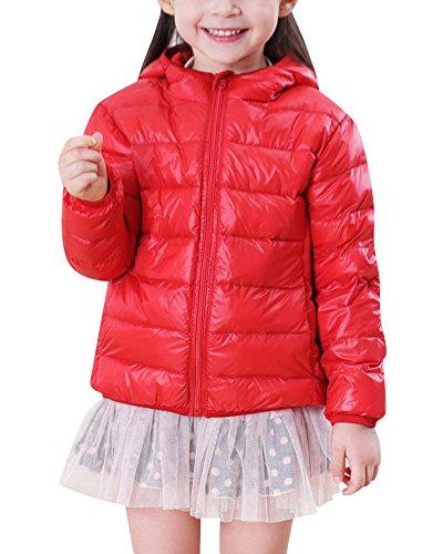 Niños Niñas Infantil Abrigos de Plumas con Capucha Cálido Ligera Chaquetas de Invierno Rojo 120