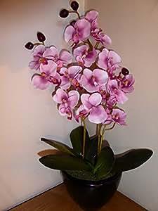 UK-Gardens - Orchidea artificiale in vaso di ceramica tondo, 46 cm, adatta per interni, colore rosa