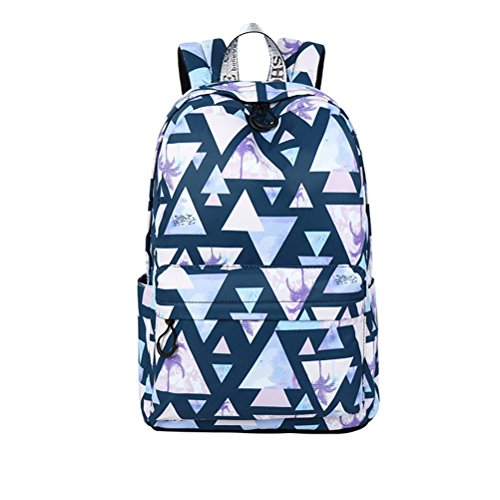 Preisvergleich Produktbild Winnerbag Mode wasserdichte Frauen Rucksack Landschaft geometrische Muster Drucken großer Kapazität Girls College Bookbags Navy Blue 14 Zoll
