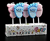 #3: Party Propz (Pack of 5) Baby Shower Candles for Decoration Foot Print Candle- Pink & Blue for Baby Shower Decoration