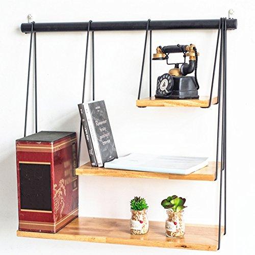 QIANGDA 3 Ebenen Bücherregal Schwebend Schwimmende Regale Warenregal Bambus Bücherschrank Wandregale Holz-Eisen-Kombination, 60 X 20 X 63,5 Cm (Eisen Einheitliche)