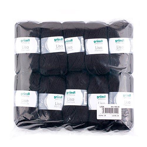 Gründl 760-26 Lauflänge pro Knäuel, Lisa Uni, 50 g, 10-er Pack, 133 m, schwarz (Schwarze Weste Stricken)