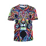 Jiayiqi Graffiti Vintage Roi Lion Imprimé T-Shirts Top T-Shirt Col O Pour Grand Garçon 2XL