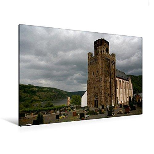 Premium Textil-Leinwand 120 cm x 80 cm quer, Wehrkirche St. Martin in Oberwesel am Rhein | Wandbild, Bild auf Keilrahmen, Fertigbild auf echter Leinwand, Leinwanddruck (CALVENDO Orte)