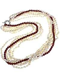 Treasurebay - Collar de coral rojo y perlas de agua dulce blanca, con caja de regalo