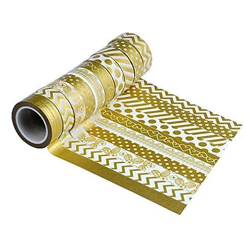 OFUN 10 Sets Washi Masking Tape Collection, Sticky Paper Masking Adhesive Tape Scrapbooking, DIY- 10m x 15mm,