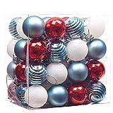 Victor's Workshop 48er Set 40mm Weihnachtskugeln Plastik Weihnachtsbaumschmuck, Christbaumkugeln Weihnachtsdeko Rot & Blau & Weiß