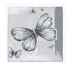 Sukima Decor Mariposa Lote 2 Cuadros, Lienzo, Plateado, 60x6x60 cm