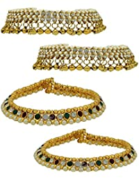 High Trendz Combo Of Two Bollywood Style Ethnic Gold Plated Anklets With Ghungroos, Cz Stones And Kundan Studded... - B06XJ6JH4X