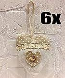 6 PEZZI Cuore In tessuto Shabby con tasca portaconfetti Decorazione bomboniera