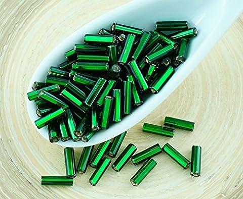 20g Opaque Vert Argent Bordée tchèque Tube de Verre de Semences de Perles Claironne PRECIOSA Perles de Rocaille Entretoise