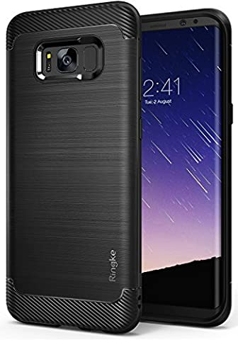 Galaxy S8 Case, Ringke [Onyx] Fine Brushed Metal Design [Flexible & Slim] Dynamic Stroked Line Pattern Trim Durable Anti-Slip TPU Impact Shock-Absorbent Case for Samsung Galaxy S 8 (2017) - Black