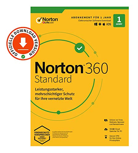 Norton 360 Standard 2020, 1-Gerät, Antivirus, Secure VPN unlimited, Passwort-Manager, PC/Mac/Android/iOS, Aktivierungscode per Email
