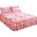 Zhiyuan Colcha con volantes y 2 fundas de almohada 150x200x38cm, Rosa caliente