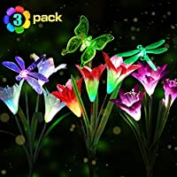 Idefair 3 Packs Solar Lights Garden Outdoor - LED Stake Lights Multi-Color Changing with Total 12 Calla Lily Flowers for Patio, Lawn, Garden and Yard Decoration