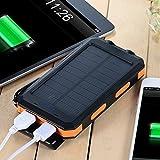 wasserdichte 10000mAh Solar Power Bank, Solar Ladegerät, Externer Akku mit superhelle Taschenlampe, Akku pack für Handy (Schwarz-Orange) - 5