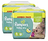 Pampers Baby Dry Größe 6 Extra Large 15+ kg Jumbo Plus Pack, 2er Pack (2 x 64 Windeln)