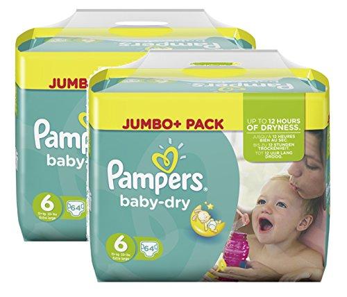 Pampers Baby Dry Größe 6 Extra Large 15+ kg Jumbo Plus Pack, 2er Pack (2 x 64 Windeln)