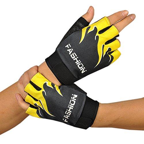 Malloom Deportes al aire libre bicicleta Ciclismo Ciclismo senderismo Gel medio dedo guantes sin dedos (amarillo)
