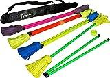 NEO UV Flowerstick Set (5 Entwürfe) inkl. Fiberglas Handstäbe mit 2 mm Ultra-Griff UV Silikon + Flames N Games Reisetasche! Flower Sticks für Anfänger und Profis. (UV Grün / Gelb)