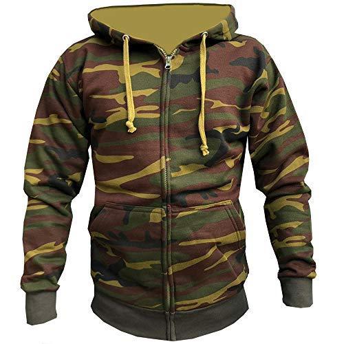 Armee-star Sweatshirt (Star and Stripes Einfarbig Reißverschluss Kapuzenpullover Kapuzentop für Herren & Damen Jacke mit Reißverschluss Kapuzenpullis Sweatshirt - Armee Tarnmuster, Small)