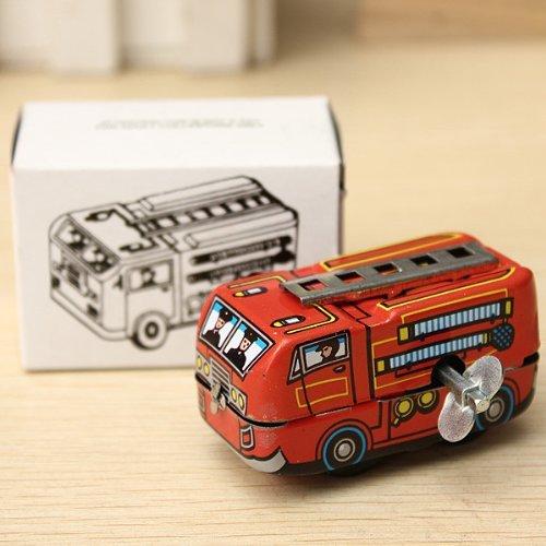 Vintage Tole (Le chef des pompiers de sapeur-pompier de voitures vintage Camion Clockwork Wind Up Jouets en tôle)