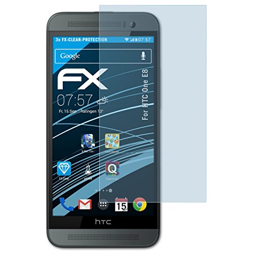 atFolix Schutzfolie kompatibel mit HTC One E8 Folie, ultraklare FX Displayschutzfolie (3X)