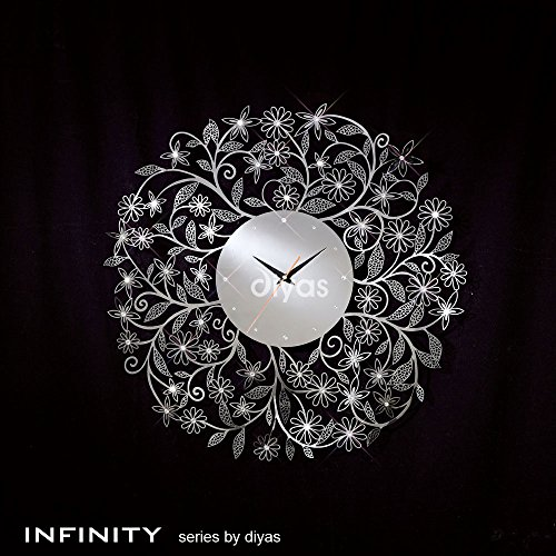 Diyas Infinity IL70097 Large Polished Stainless Steel Clock Wall Art
