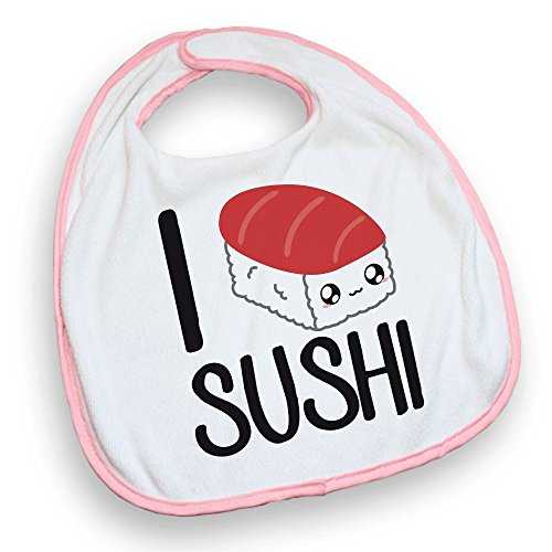 Bavoir rose I love Sushi kawaii chibi - Fabriqué en France - Chamalow Shop