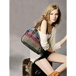 COOFIT Borsa Donna, Borse a Mano Borse Tela Borse Tracolla Multi Colore Strisce Borse a Spalla Borsetta Messenger Bag (Multi Colore)